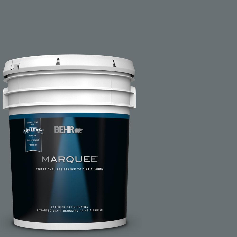5 gal. #MQ5-28 Dawn Gray Satin Enamel Exterior Paint and Primer in One