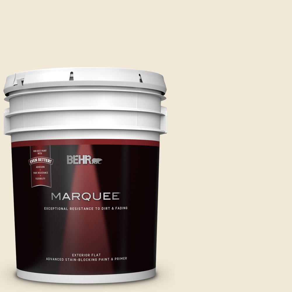 5 gal. #13 Cottage White Flat Exterior Paint and Primer in One