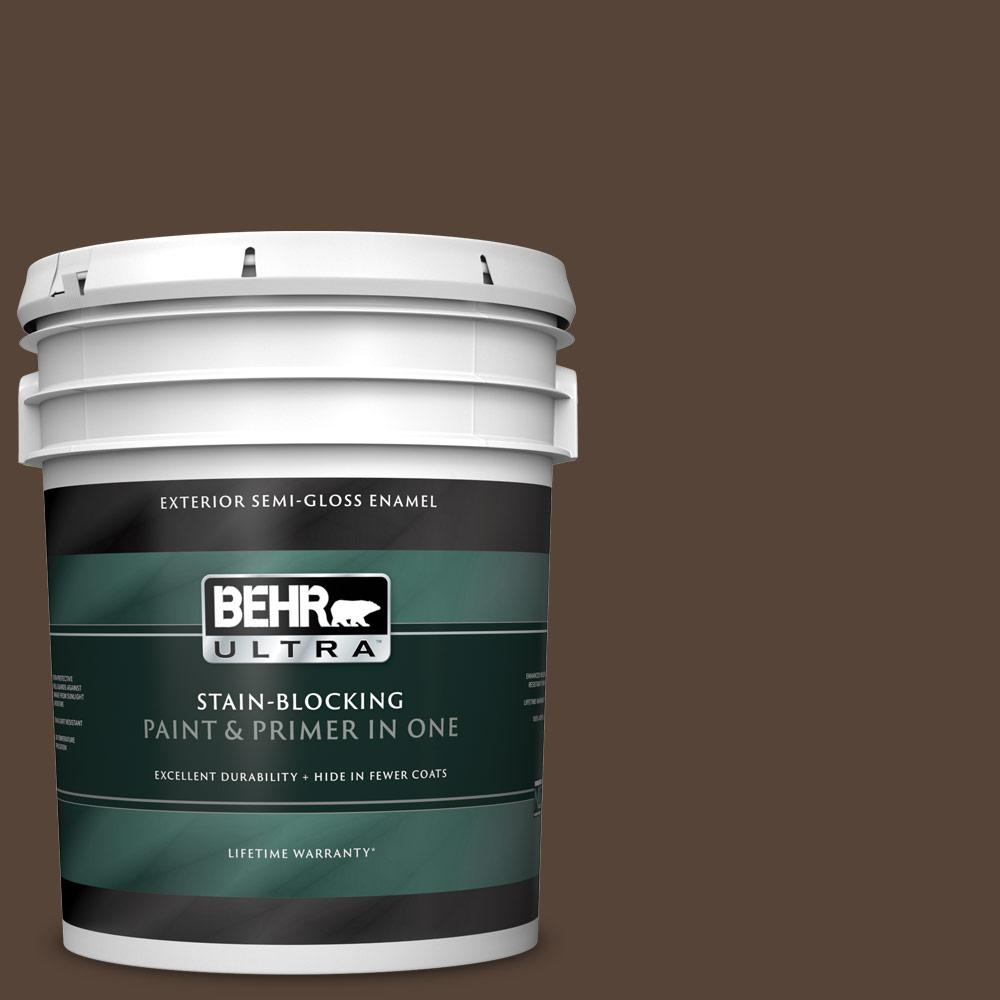 5 gal. #N170-7 Baronial Brown Semi-Gloss Enamel Exterior Paint and Primer in One
