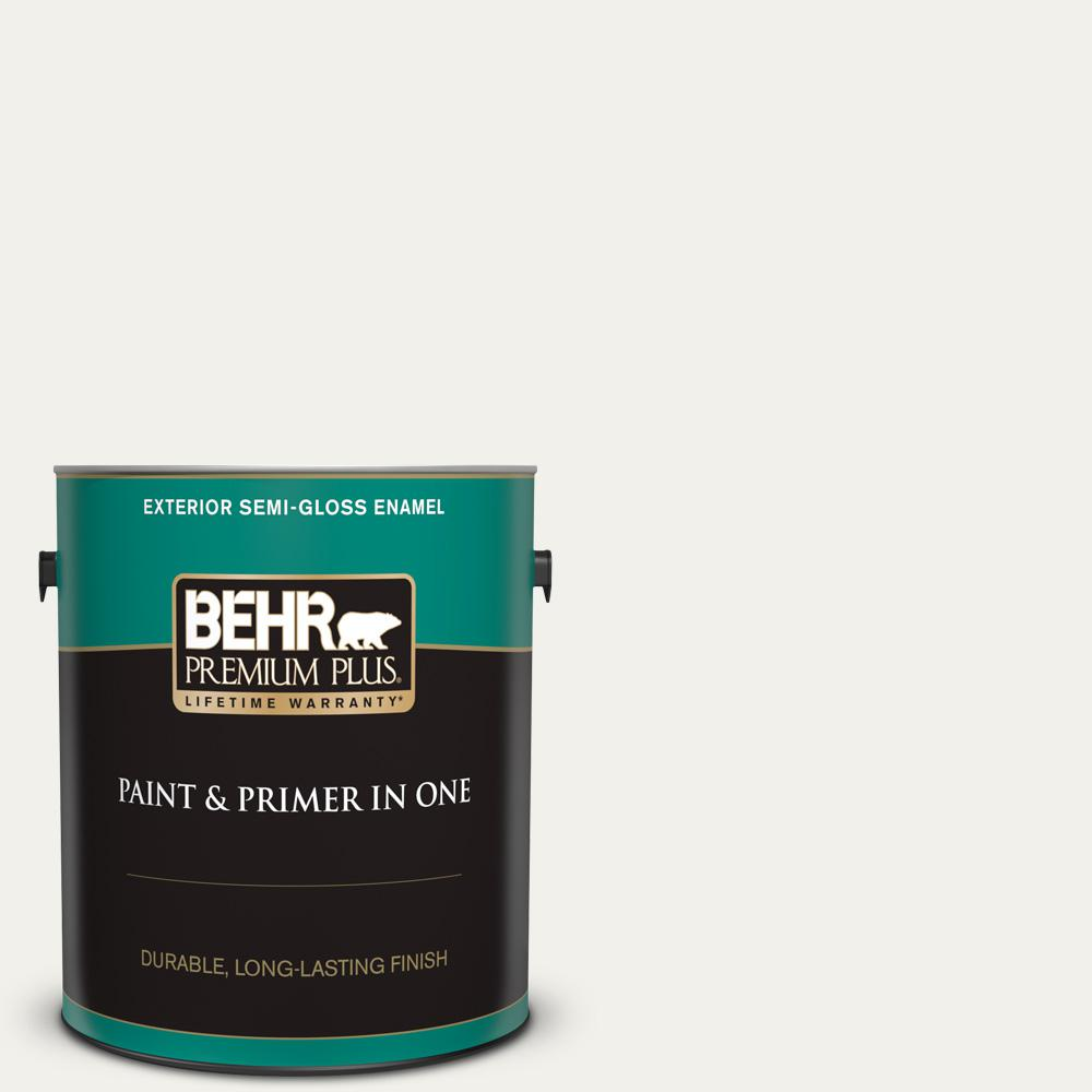 1 gal. Home Decorators Collection #HDC-MD-06 Nano White Semi-Gloss Enamel Exterior Paint & Primer