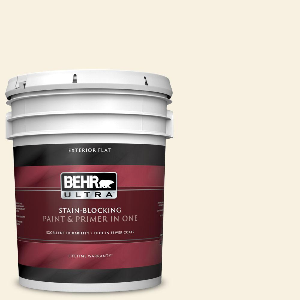 5 gal. #W-F-300 Cotton Whisper Flat Exterior Paint and Primer in One