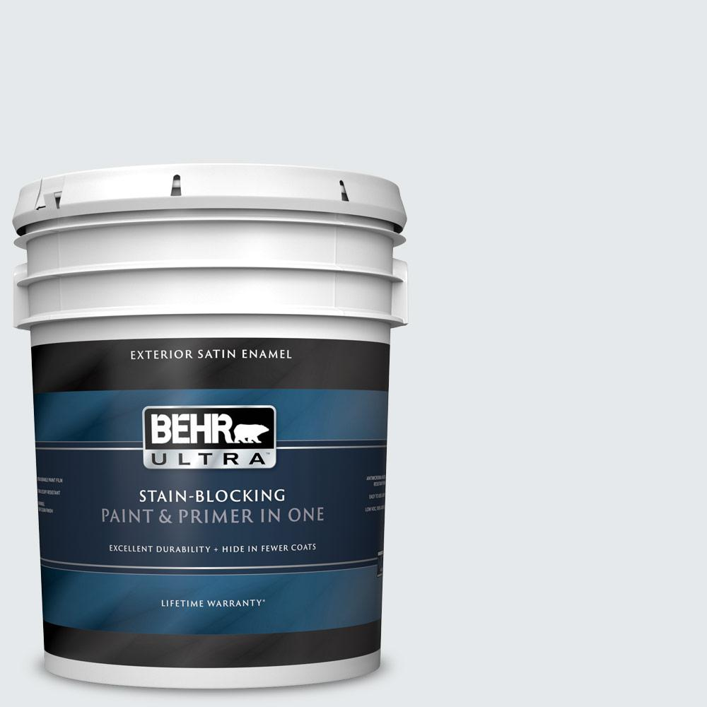 5 gal. #PR-W10 Swirling Water Satin Enamel Exterior Paint and Primer in One