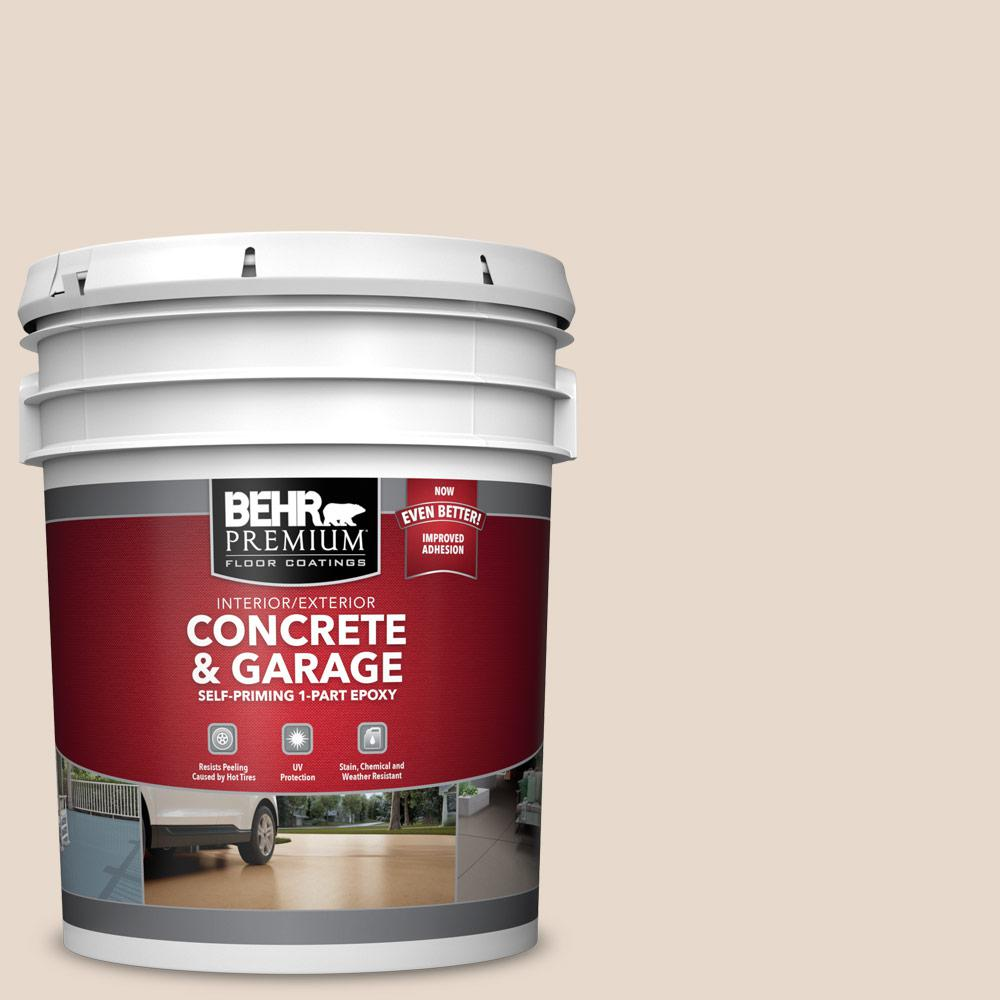 5 gal. #N240-1 Cascade Beige 1-Part Epoxy Satin Interior/Exterior Concrete and Garage Floor Paint