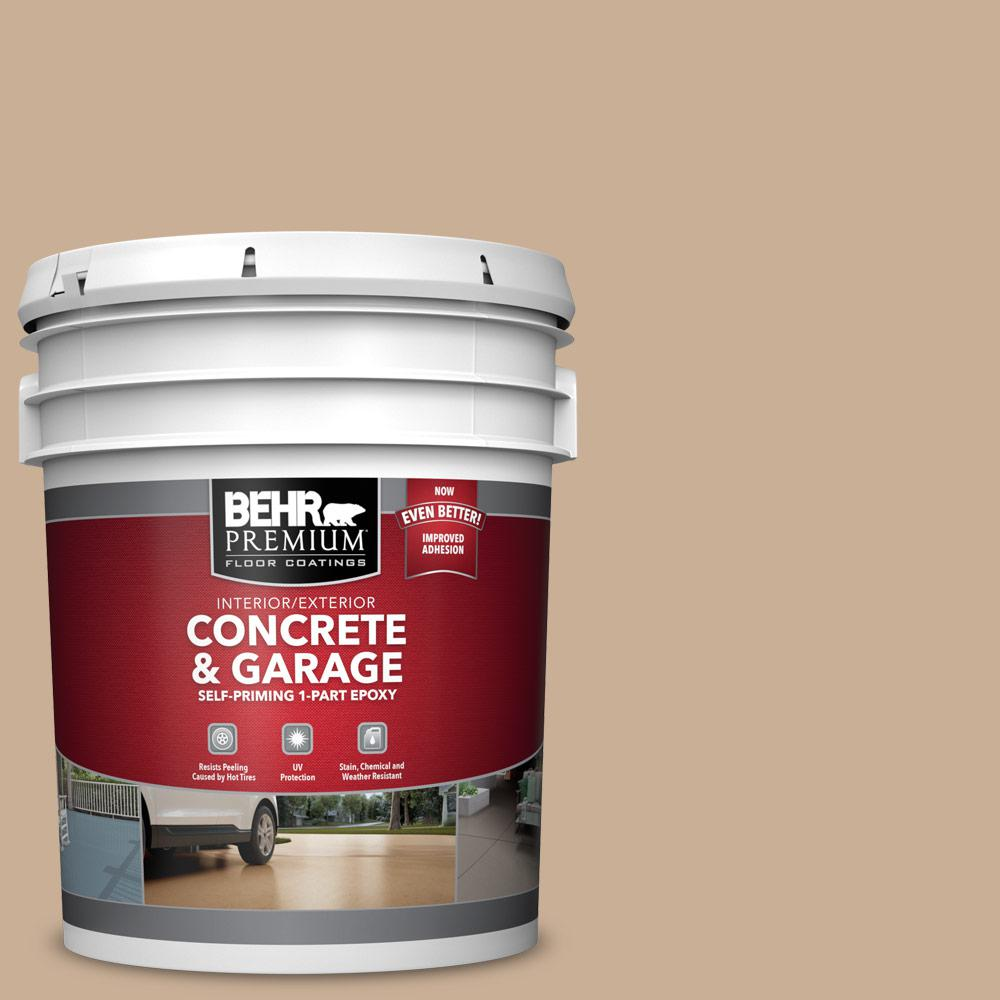 5 gal. #N260-3 Polo Tan 1-Part Epoxy Satin Interior/Exterior Concrete and Garage Floor Paint