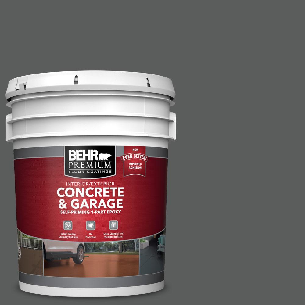 5 gal. #N520-6 Asphalt Gray 1-Part Epoxy Satin Interior/Exterior Concrete and Garage Floor Paint