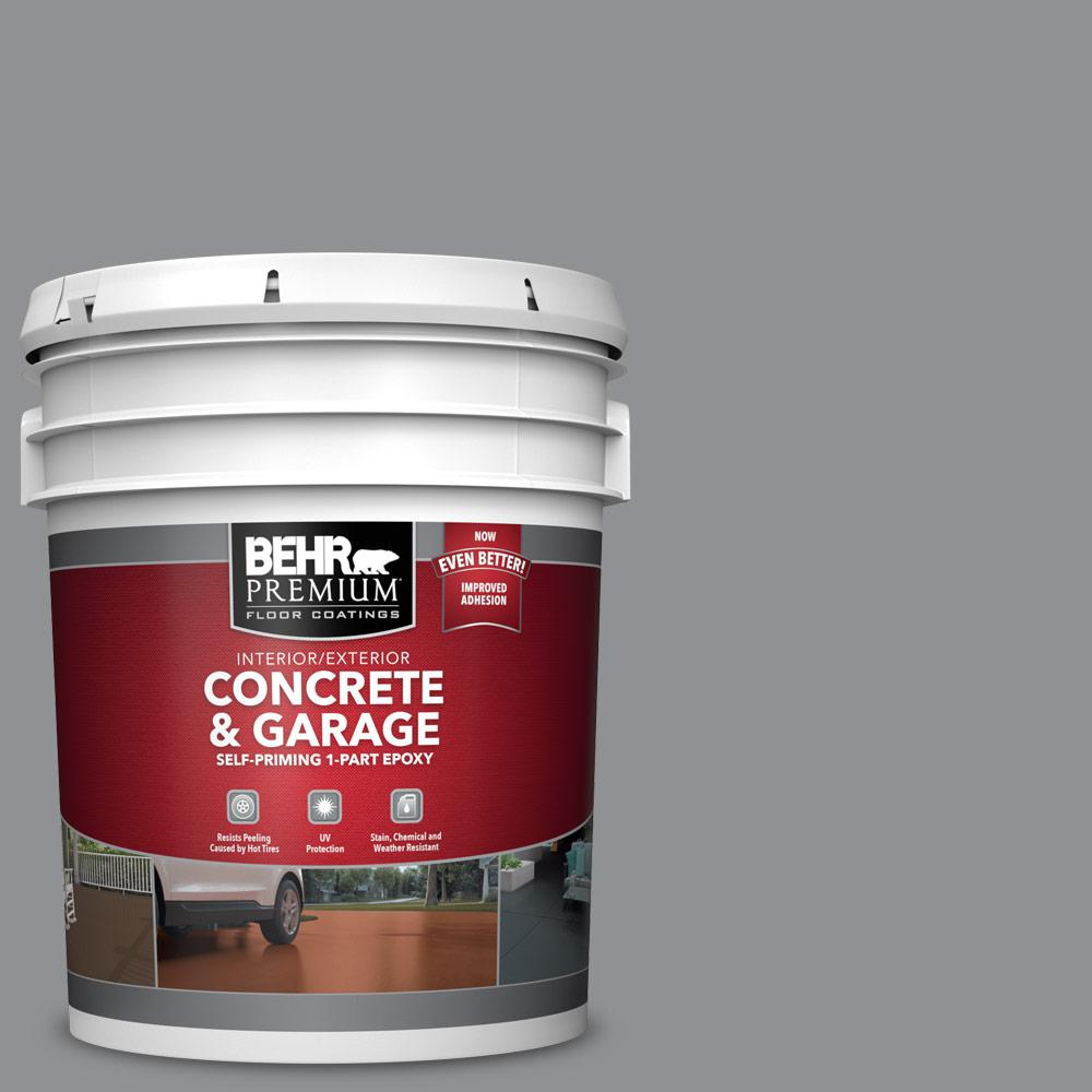 5 gal. #N520-4 Cool Ashes 1-Part Epoxy Satin Interior/Exterior Concrete and Garage Floor Paint