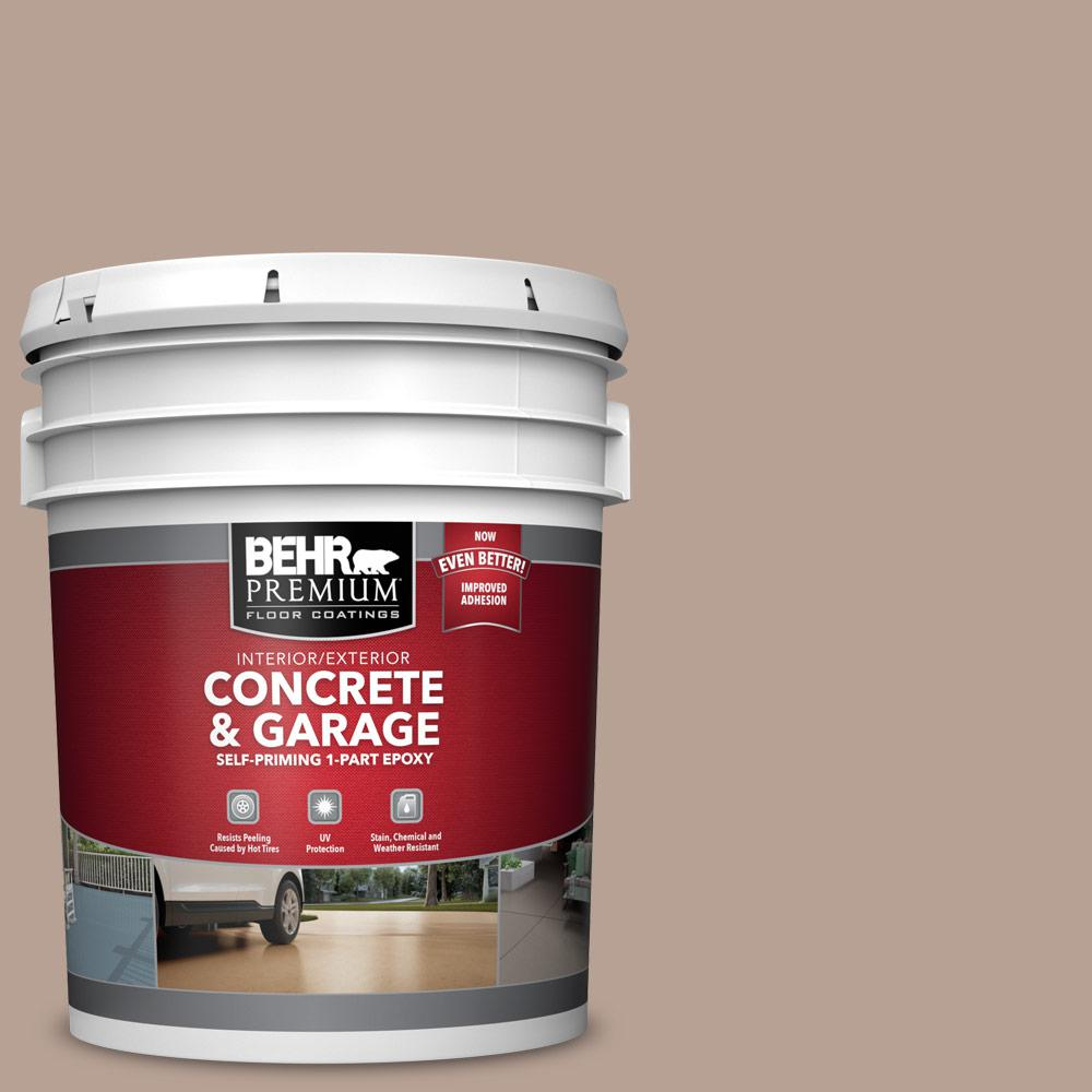 5 gal. #N190-4 Rugged Tan 1-Part Epoxy Satin Interior/Exterior Concrete and Garage Floor Paint