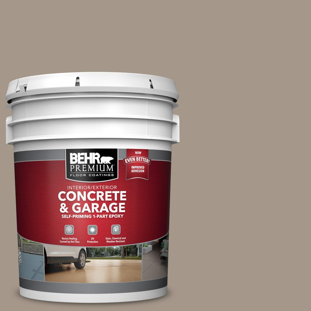 5 gal. #N220-4 Shiitake 1-Part Epoxy Satin Interior/Exterior Concrete and Garage Floor Paint